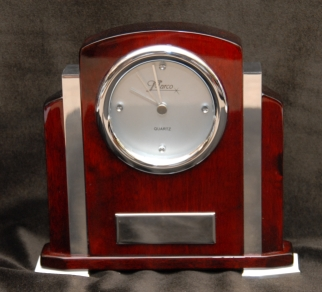 Custom engraved clocks, Rosewood desk clock: Item #613