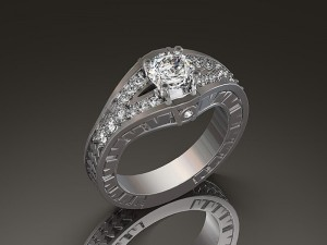 White Gold Engagement Ring design by Jay F. Jeweler
