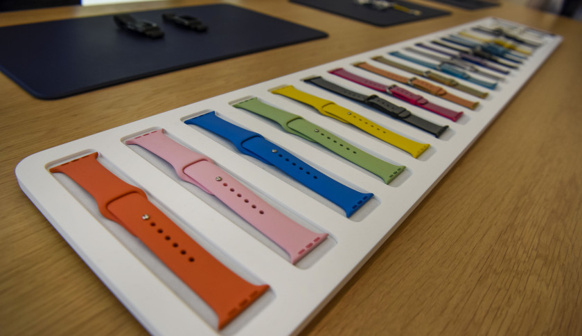 New colored sport bands for the Apple Watch are displayed after an Apple Inc. event in Cupertino, California, U.S., on Monday, March 21, 2016. Apple Inc. unveiled a new, smaller iPhone that will start at $399, seeking to jump-start sales of its flagship product by enticing more users to upgrade, especially in high-growth markets such as China and India. Photographer: David Paul Morris/Bloomberg via Getty Images