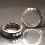 Two-tone gold gentleman's wedding bands set with diamonds