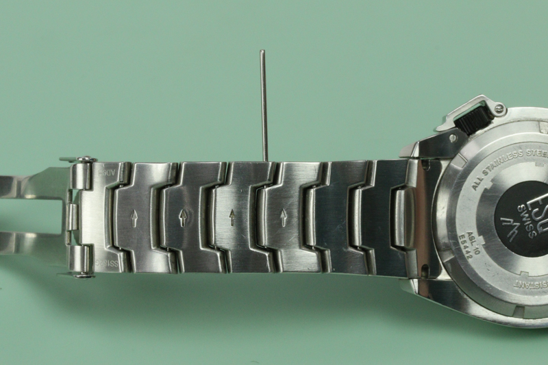 Start Gently Ting On The End Of Pin Until It Is Pushed Flush Into Link And Even With Down Facing Outer Edge Watch Band